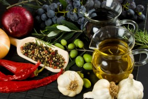 Extra virgin olive oil and mediterranean food ingredients